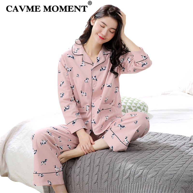 CAVME Pure Cotton   Pajamas     Set   for Women Lady 10 Colors Full Sleeve Full Length Pants Ladies Home Clothes Nightwear 40-83KG