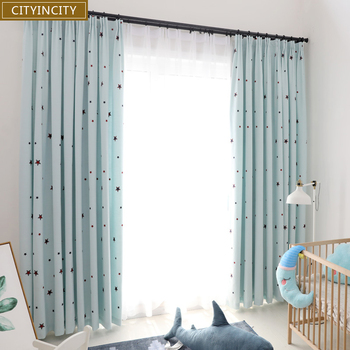 CITYINCITY Starry sky kid's Curtain For bedroom Embroidered Faux linen Curtains for living room Home Decor Darpes Customized