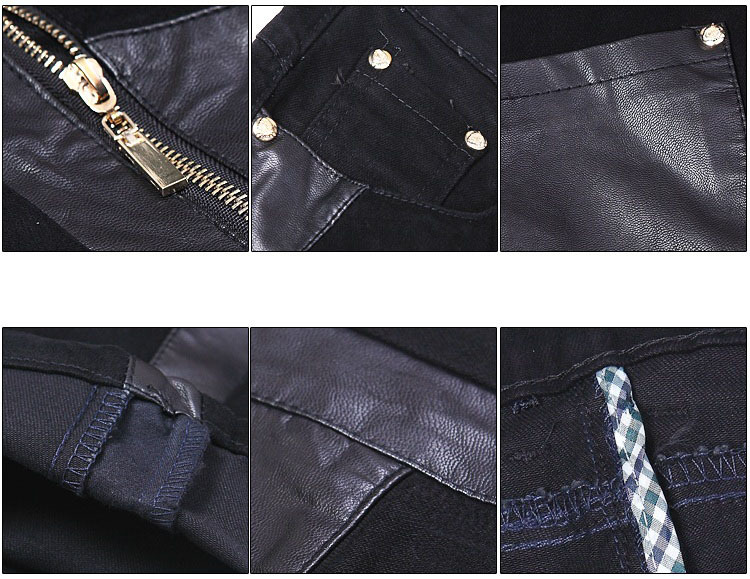Fashion men leather trousers motorcycle with zipper casual pants skinny pants free shipping A107