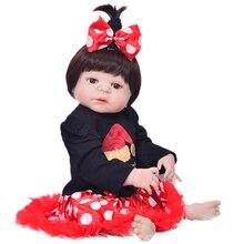 Újszülött babák Realistic 23 '' Full Silicone Vinyl Reborn Babies Girl Babák Alive Kids Playmates Menina Reborn Játék Karácsonyi ajándékok