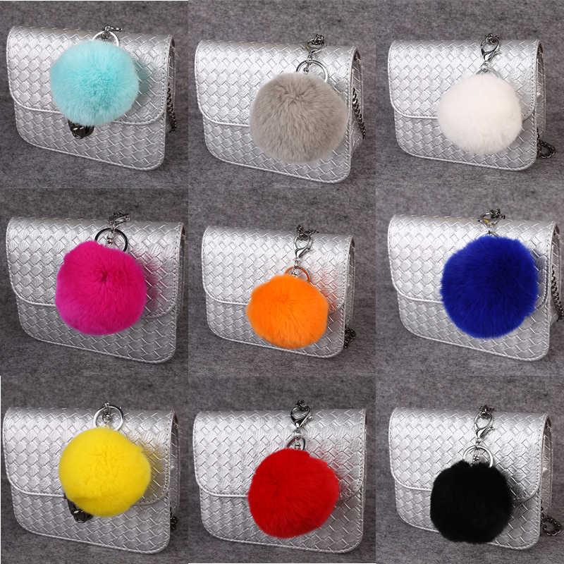 Atacado de Moda Chaveiro Chaveiros de Coelho Fofo, Saco Chaveiro Chaveiro Real Coelho Lapin Pele Pom Pom Chapéu Roupas Ornamentos