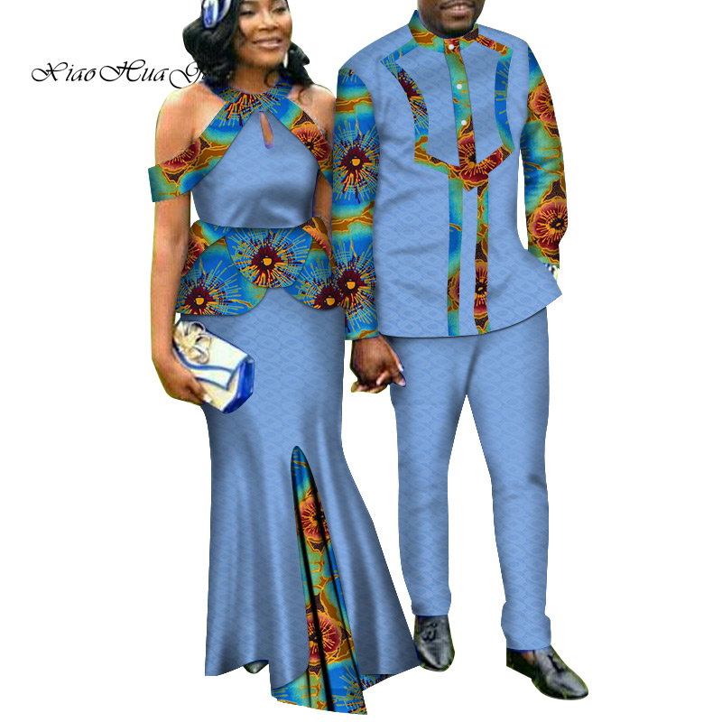 Two Piece Set African Dashiki Print Couple Clothing for Lovers Men's Suit Plus Women's Party Maxi Dress WYQ188 - 5