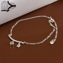 Lose Money!!Wholesale Silver Plated Anklets,Fashion Silver Austria Crystal,Hanging Hexagon Star Anklets Bracelet For Women