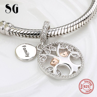 SG 925 Silver Charms Warming Family The Tree Of Life Beads Fit Authentic Pandora Bracelets Jewelry