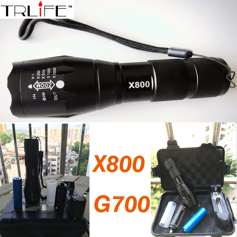 Tactical Military CREE XML T6 LED 2000Lm led Torches Zoomable LED Flashlight Lamp+1x18650 Battery + Charger E17 G700 X800