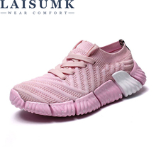 LAISUMK Fashion 2019 Casual Shoes Woman Summer Comfortable Breathable Mesh Flats Female Platform Sneakers Women Chaussure Femme