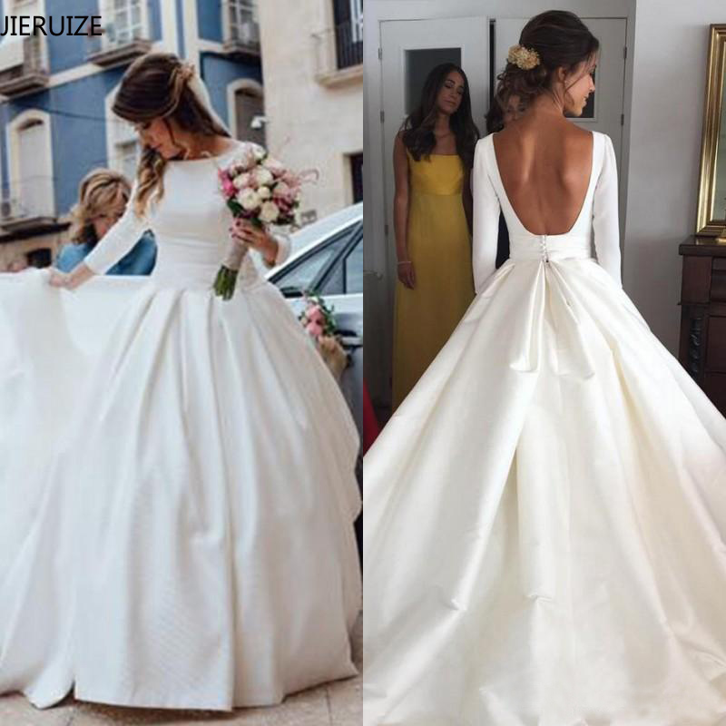 JIERUIZE White Simple Backless Wedding Dresses 2019 Ball Gown 3/4 Sleeves Elegant Bridal Dresses Open Back Cheap Wedding Gowns