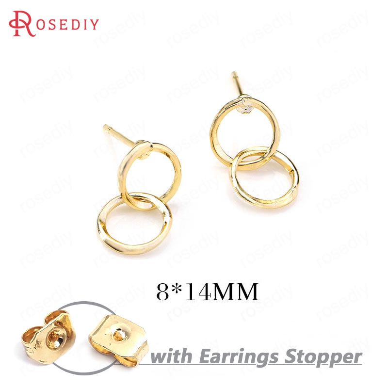 (34639)6PCS 8*14MM 24K Gold Color Brass Double Round Circle Stud Earrings Pins High Quality Diy Jewelry Findings Accessories
