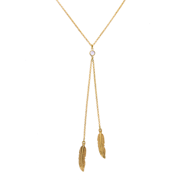 Kpop new trending metal feather necklace gold color alloy long kpop new trending metal feather necklace gold color alloy long sweater chain brand jewelry necklaces aloadofball Image collections