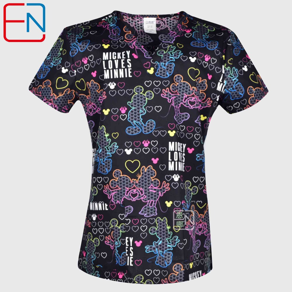 Hennar Women Scrub Tops Medical With V Neck 100% Cotton Surgical Short Sleeve Cartoon Print 2019 High Quality Scrubs Top Female(China)