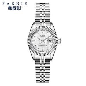 Image 4 - Reloj Parnis de 26mm para mujer, relojes mecánicos de lujo para mujer, diamantes de imitación reales de acero inoxidable, brazalete con movimiento japonés con Calend
