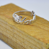 Wholesale Personalized Name Ring Sterling Silver Crystal Design Party Jewelry Custom Christmas Gift