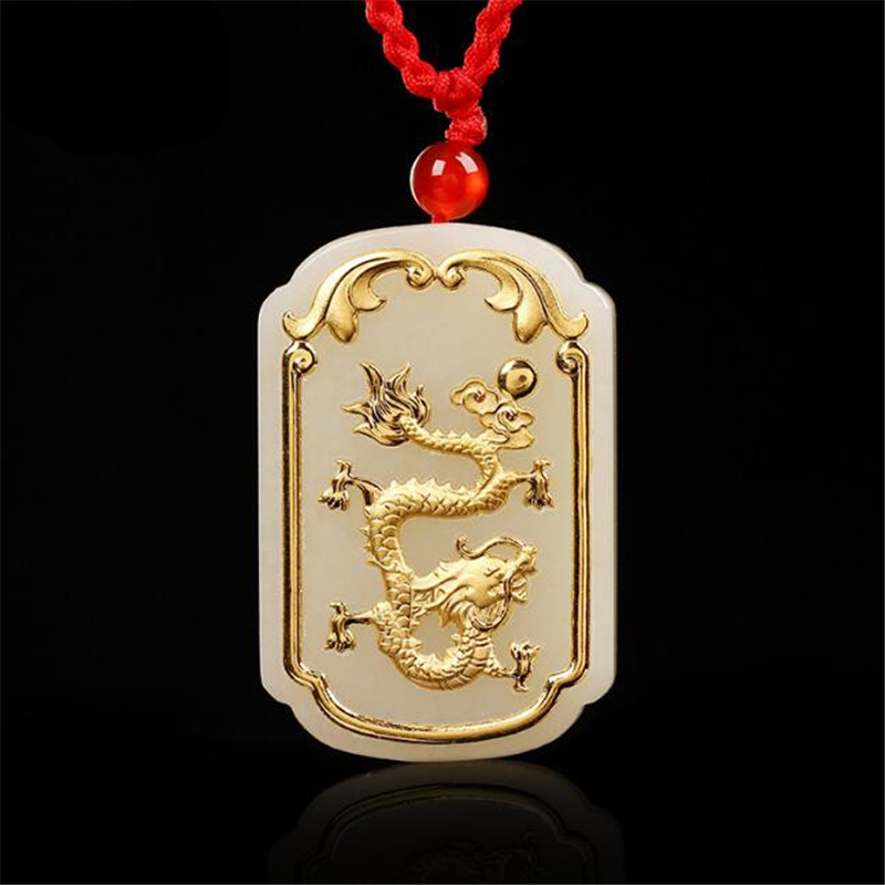 TJP 2018 Gold Dragon Pendant Jade jewelry Good Quality Men Women Necklace Free shipping TJP 2018 Gold Dragon Pendant Jade jewelry Good Quality Men Women Necklace Free shipping