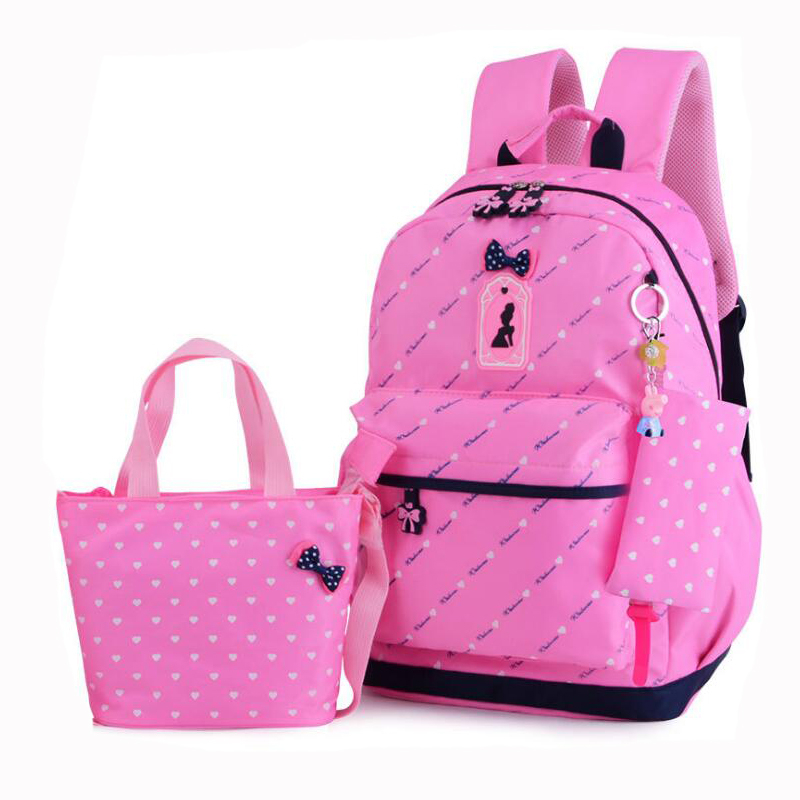 Girl Princess School Bags For Teenagers Backpack Set Ladies Shoulder Travel Nylon Bags 3 Pcs/Set Rucksack Mochila Knapsack NEW