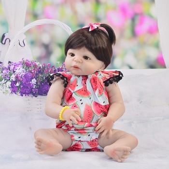 Reborn  Dolls 23''  Full soft Silicone Reborn Baby girl Doll Toys new year bebe gift reborn boneca kids present dolls reborn