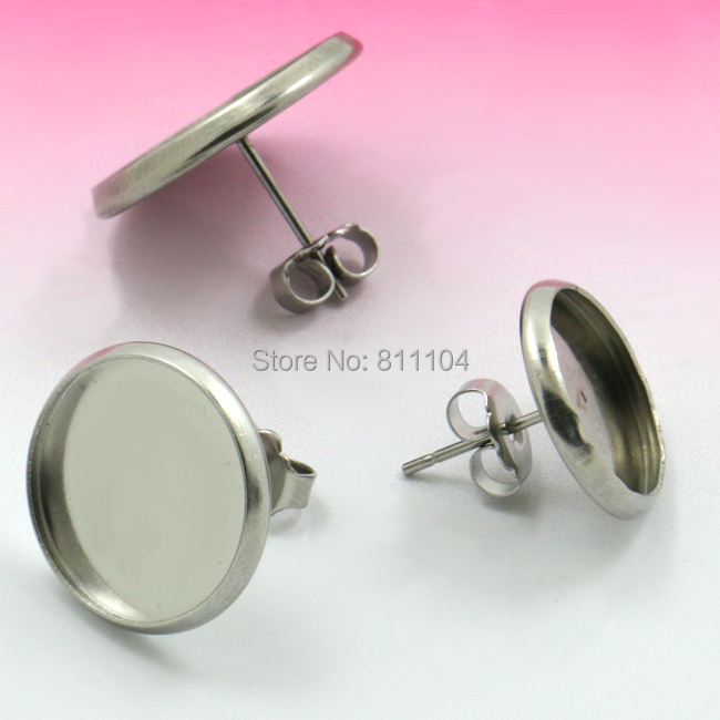 Blank Stainless Steel stud Earrings <font><b>Bases</b></font> with Round Bezel tray Glass Cabochon <font><b>Settings</b></font> Earrings post with Stopper Back Findings image