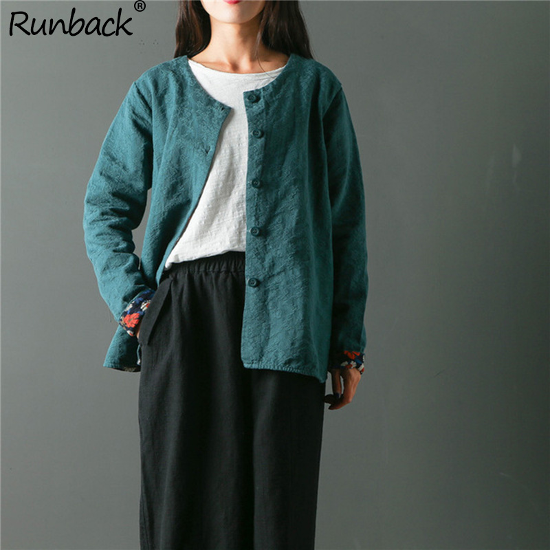 Runback Jacquard Jacket Women Linen Plus Size Cardigan Long Sleeve Autumn Vintage Navy Jackets Woman Winter 2019 Coats