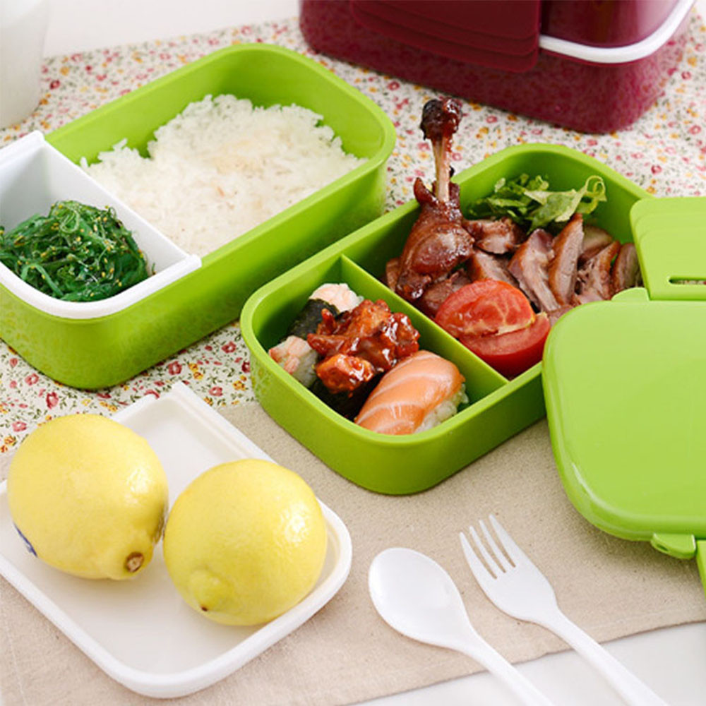 1pcs Eco-friendly Japan Style Double Tier Dinnerware <font><b>Set</b></font> PP Cute Meal Box Tableware Microwave Oven Bento Lunch Container Kitchen