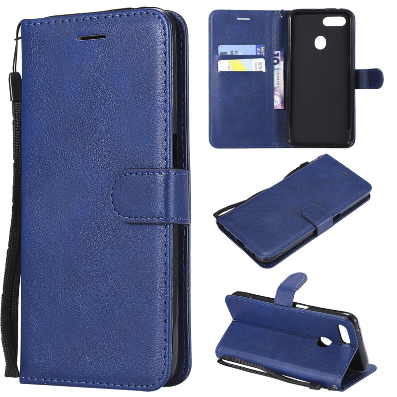 Wallet Case For <font><b>OPPO</b></font> <font><b>F9</b></font> <font><b>Flip</b></font> back <font><b>Cover</b></font> Pure Color PU Leather Mobile Phone Bags Coque Fundas image