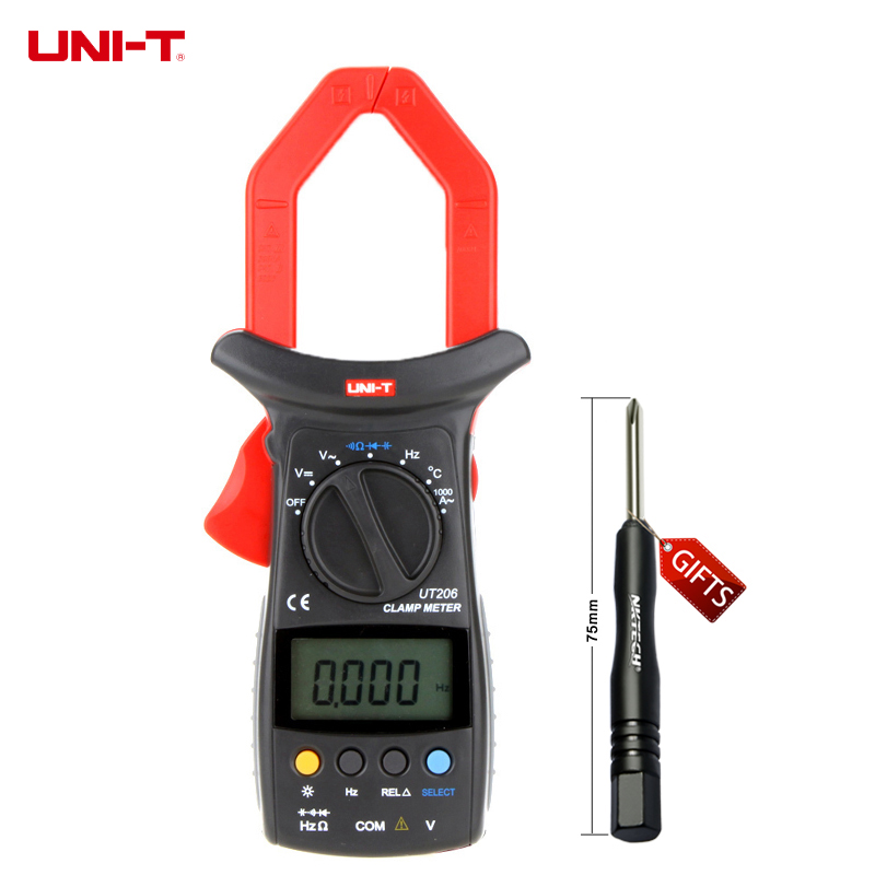 UNI-T UT206 3999 Count Auto Range DMM Digital Clamp Multimeters W/ Temperature Test Multimetro LCR Meter uni t ut30c original authentic data handed hold digital multimeters temperature test