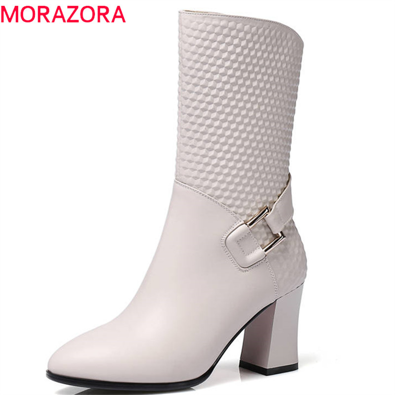 MORAZORA 2018 newest genuine leather women boots round toe autumn winter mid calf boots zipper with buckle high heels boots zorssar 2018 new fashion women boots genuine leather zipper round toe mid heels womens mid calf boots autumn winter women shoes
