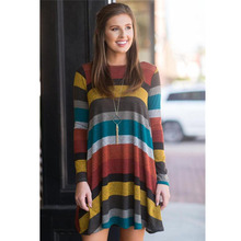 2018 Brand Women Long-Sleeved Striped Dresses Spring Winter Female Cotton Clothing Ladies Slim Sexy Round-Neck Hedging Dress