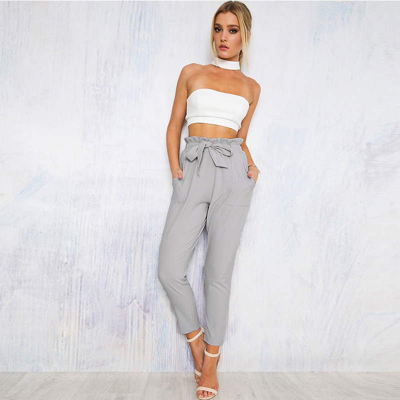 Women High Waist Harem Pants Bow Tie Drawstring Elastic Waist Pockets Casual Pleated Trousers Pantacourt Pantalon Femme