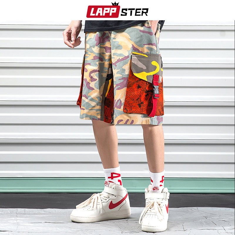 LAPPSTER Men Streetwear Camouflage Cargo   Shorts   Summer 2019 Mens Color Block Cotton Pocket   Shorts   Male Camo Sweat   Shorts