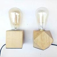 Wood Vintage Desk Lamp Dimmable 40W Edison Bulb 220V Bedroom Bar Table Light Desk Light wooden Retro Coffee Shop Table Lamp