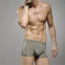 Win Brand Men Underwear Middle-waisted Silk Sleepwear Ice Silk Boxer Sexy Men Underwear  Slip HommeCuecas Boxers Brand