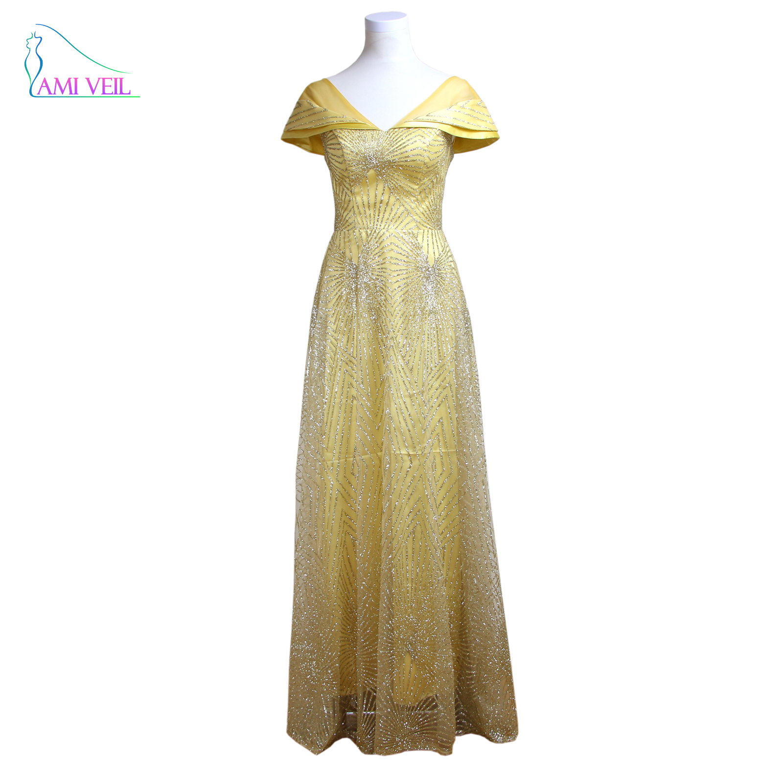 Long Gold Sequin Gowns V Neck Formal Evening Gown Prom Dresses ...