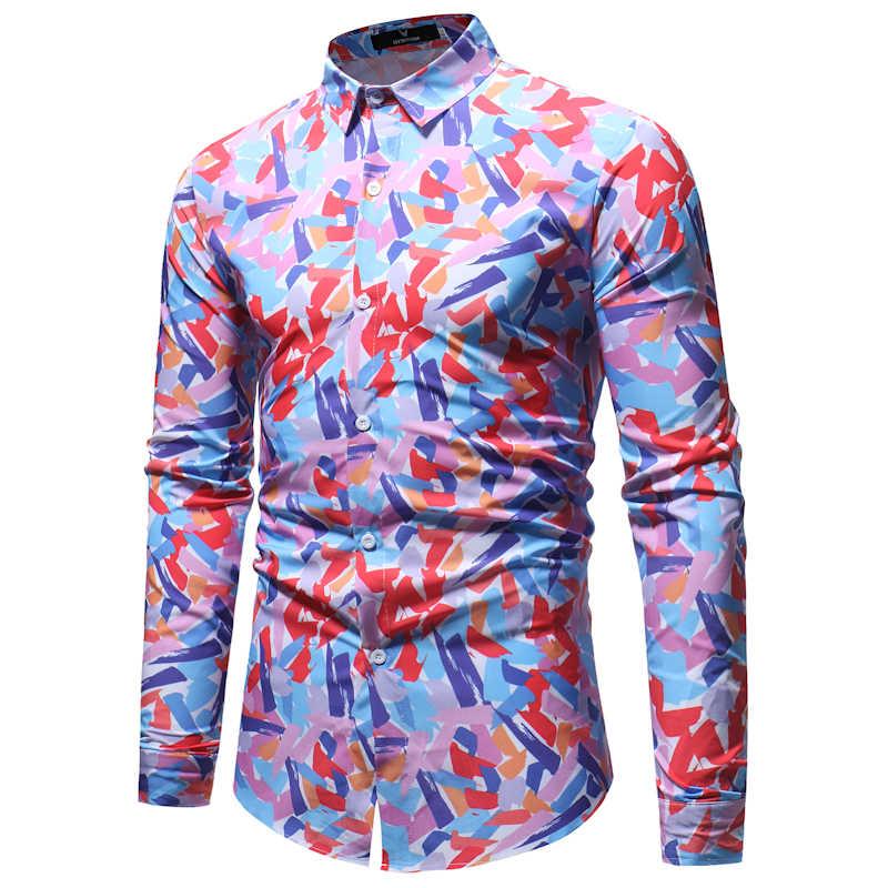 カラフルなプリントスリムフィット長袖シャツ男性 2018 春秋の新カジュアルボタンダウンドレスシャツブランド紳士服 XXXL