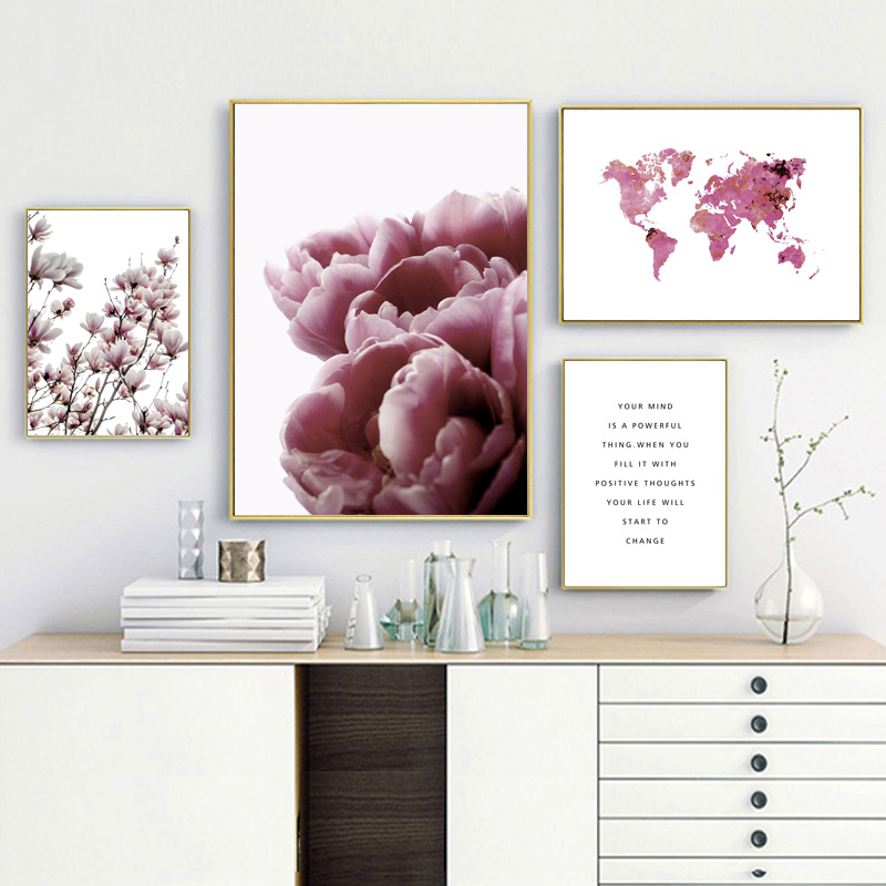 Tulip Magnolia Pink World Map Wall Art Canvas Painting Nordic Posters And Prints Flower Wall Pictures For Living Room Home Decor