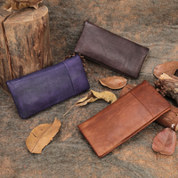 Women Clutch Wallets Cell Phone Pocket Handmade Genuine Leather Lady Long Bifold Wallet 2019 Card Holder Purse Snap Closure