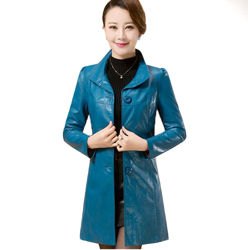 New autumn and winter female leather coat medium-long plus size leather stand collar leather jackets and coats AE1896