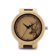 2016 Лучший бренд лося мужская Bamboo Деревянный Watch Кварцевые Настоящее Кожаный Ремешок Мужские Часы