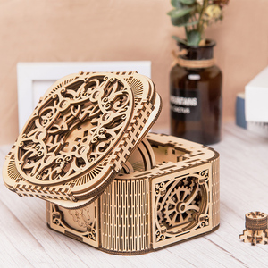 Image 4 - 2019 new wooden jewelry box assembled creative toy gift puzzle wooden mechanical transmission model assembled toy DIY gift