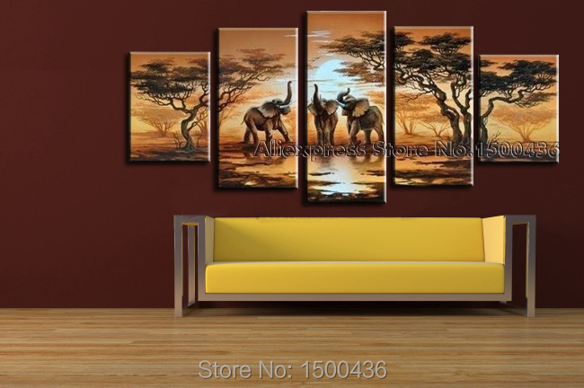 Handmade Modern Abstract Oil Painting 5 Piece African Sunset Landscape  Elephant Canvas Art Living Room Wall Decor Picture Set In Painting U0026  Calligraphy From ...