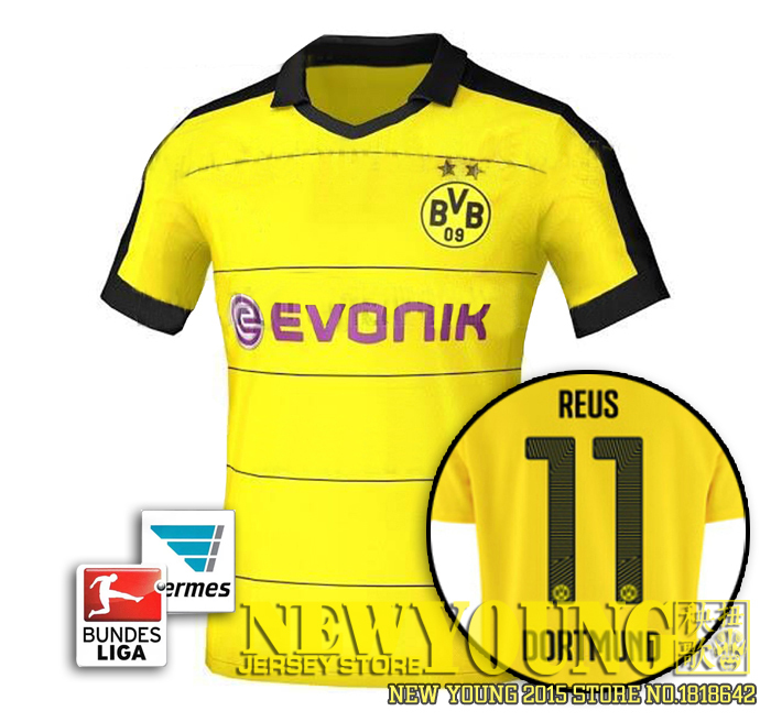 2016 Borussia Dortmund Soccer jersey 15 16 Bundesliga Dortmund home yellow football  shirt ... 5ac30964fc34d