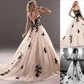A-line sweetheart Black Appliques white ivory champagne Wedding Dresses with long big train Vestidos de noivas longo custom made