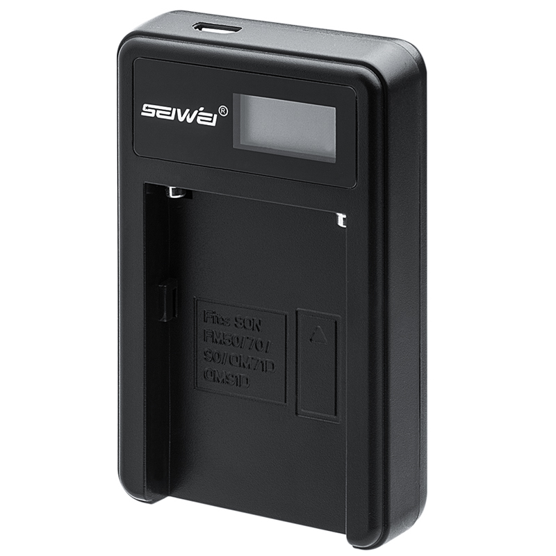 SEIWEI NPFM50 USB Battery Charger with LCD Screen for Sony NP FM50 70 90 QM71D 91D