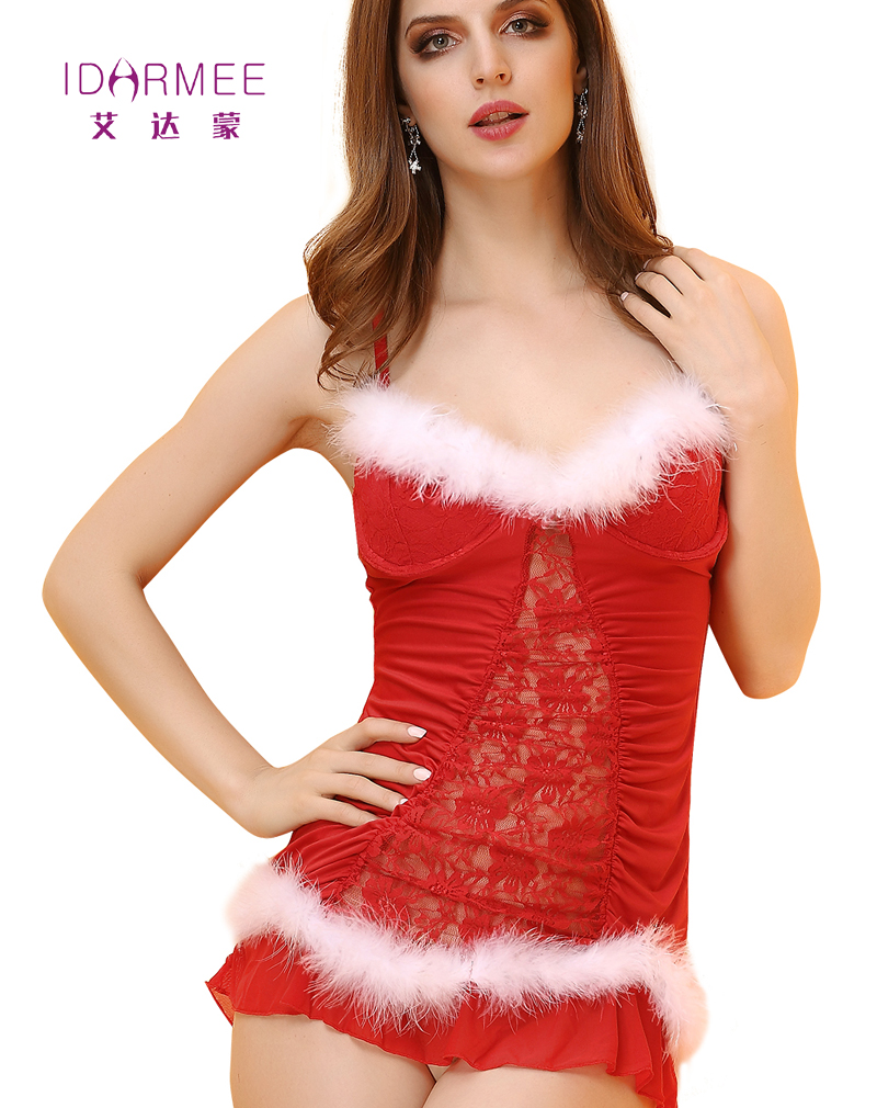 IDARMEE Sexy Lingerie Women Christmas Cosplay Dress Red Lace Sexy Pijama Sets Sexy Underwear Exotic Apparel S6425 ...