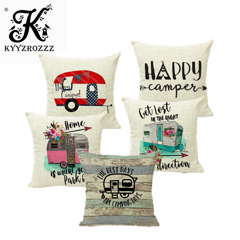 Happy Campers Adventure Waiting For Car Trip Cushion Cover Hawaii  Camping Linen Pillow Covers