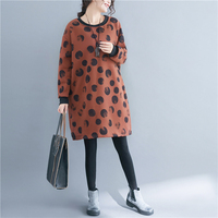 P Ammy Plus Size Fleece Lining Warm Mid Long Jumper Dress Winter Thicken Graffiti Pattern Long Sleeve Tunic lagenlook voguee