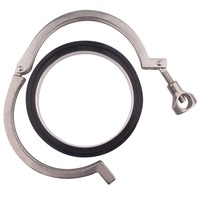 DERNORD 4 Inch Stainless Steel 304 Tri Clamp 2pcs Sanitary Pipe Weld Ferrule + 1pc Viton Gasket Set + 1pc Tri Clamp