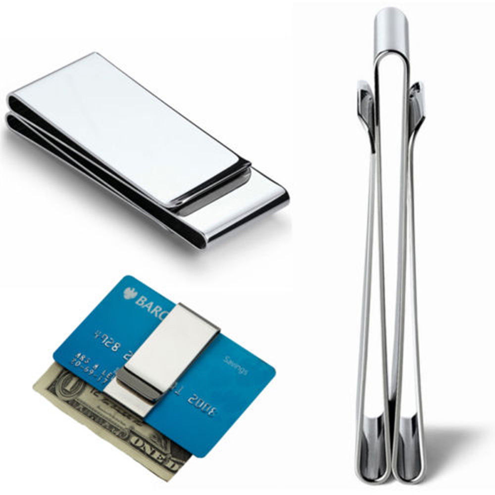 ISKYBOB Wallet Metal Clip-Clamp Money-Holder Credit-Card Bill Stainless-Steel Slim Double-Sided