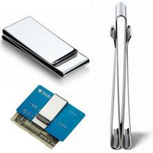ISKYBOB Тонкий двухсторонний кошелек из нержавеющей стали для мужчин и женщин с зажимом для денег металлический держатель для кредитных карт зажим для денег