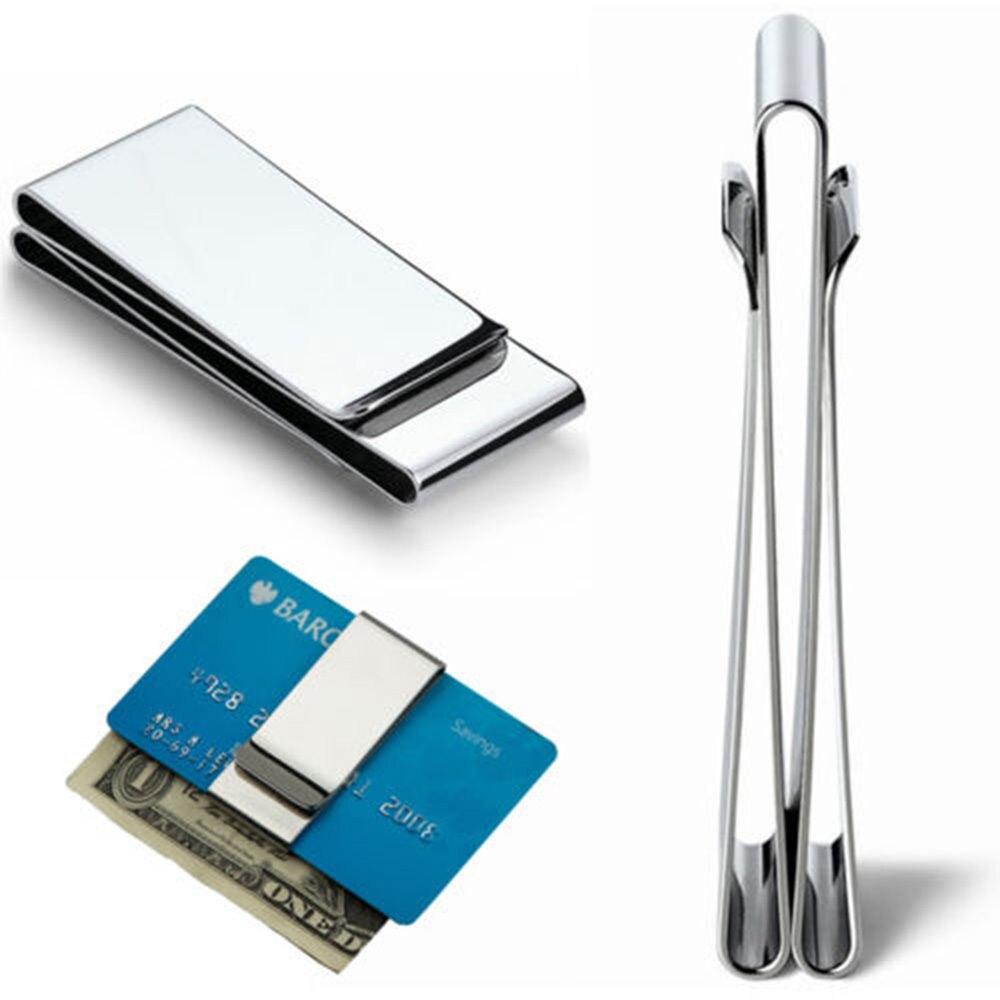 ISKYBOB acier inoxydable mince Double face hommes femmes pince à billets portefeuille métal crédit porte-monnaie porte-cartes Bill pince en acier
