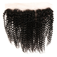 Dlme 13×4″ Lace Frontal Brazilian Kinky Curly Ear to Ear Pre Plucked Closure High Temperature Fiber Natural Hair With Babyhair