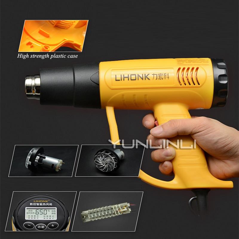 Pistolet à Air chaud Thermostat affichage numérique feuille de voiture pistolet de cuisson Film thermorétractable sèche-cheveux industriel ventilateur à Air chaud LK-630E